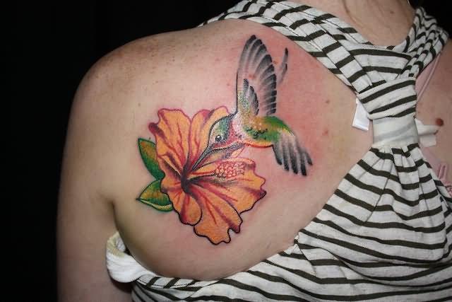 Hummingbird Flower Tattoos: 39+ Flowers Shoulder Tattoos