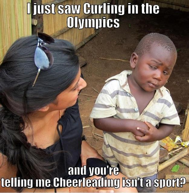 I Just Saw Curling In The Olympics And You Are Telling Me Cheerleading Isn't A Sport Funny Cheerleading Meme Picture