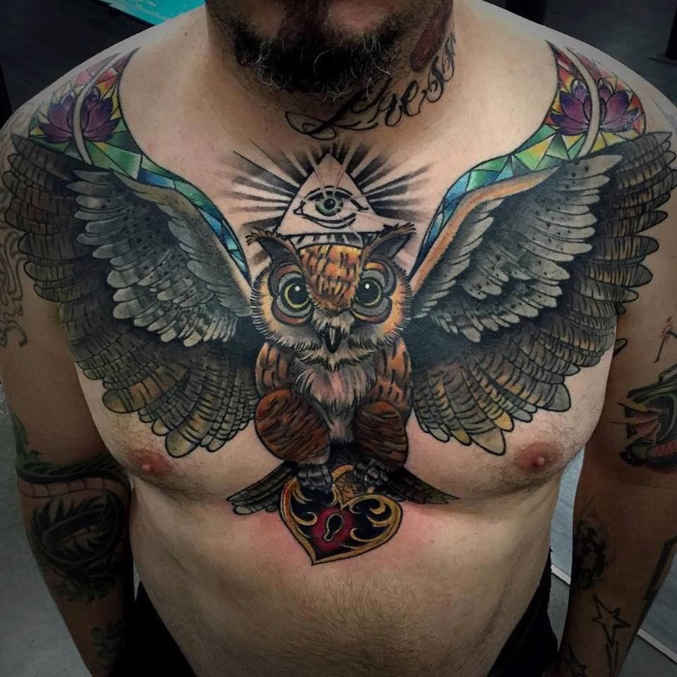 Chest Tattoos: Open Wings Owl Tattoo On Man Chest