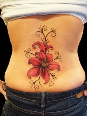 Pink Ink Hibiscus Flower Tattoo Design For Lower Back