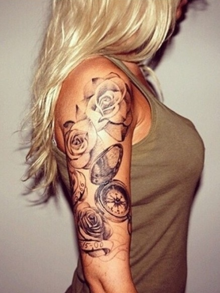 46 cool half sleeve tattoos for Flower tattoo arm