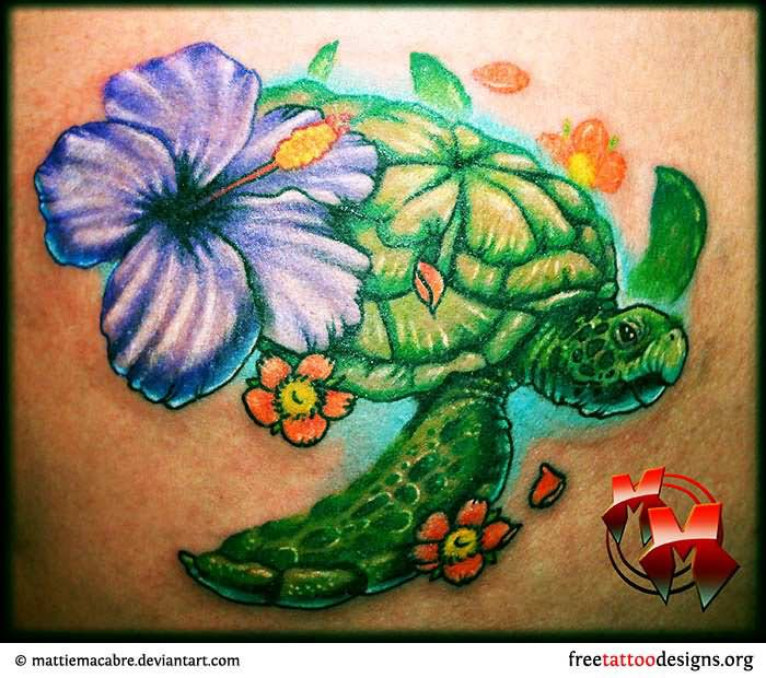 f89848bb5430f Purple Hibiscus Flower With Turtle Tattoo Design