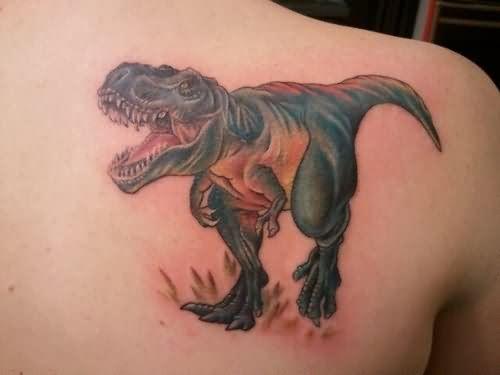 4312251e0 Right Back Shoulder Dinosaur Tattoo
