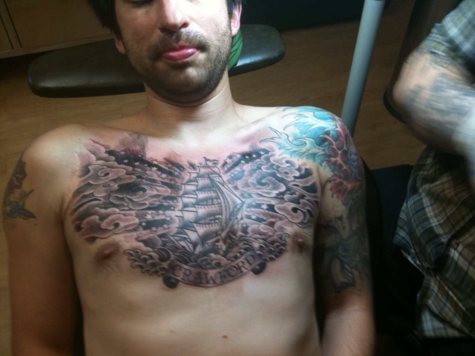 25+ Nice Clouds Chest Tattoos
