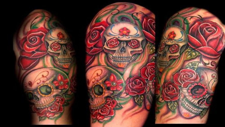 25 skull half sleeve tattoos. Black Bedroom Furniture Sets. Home Design Ideas
