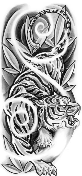 Angry tiger tattoo on right half sleeve for Half sleeve tattoo sketches