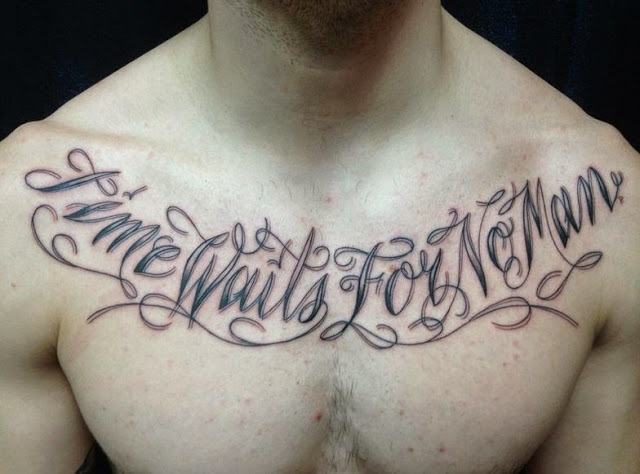 41 quotes tattoos on chest for Trust no man tattoo