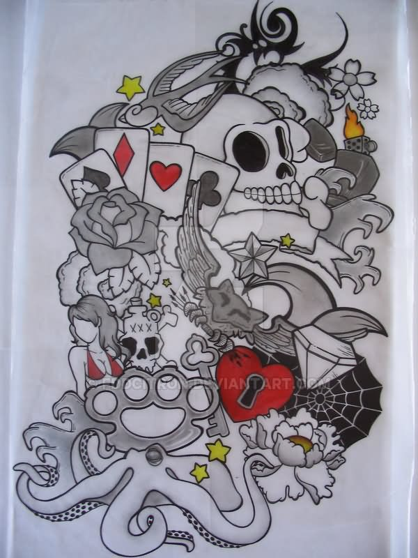 Traditional Half Sleeve Tattoo Design By Fddcitron