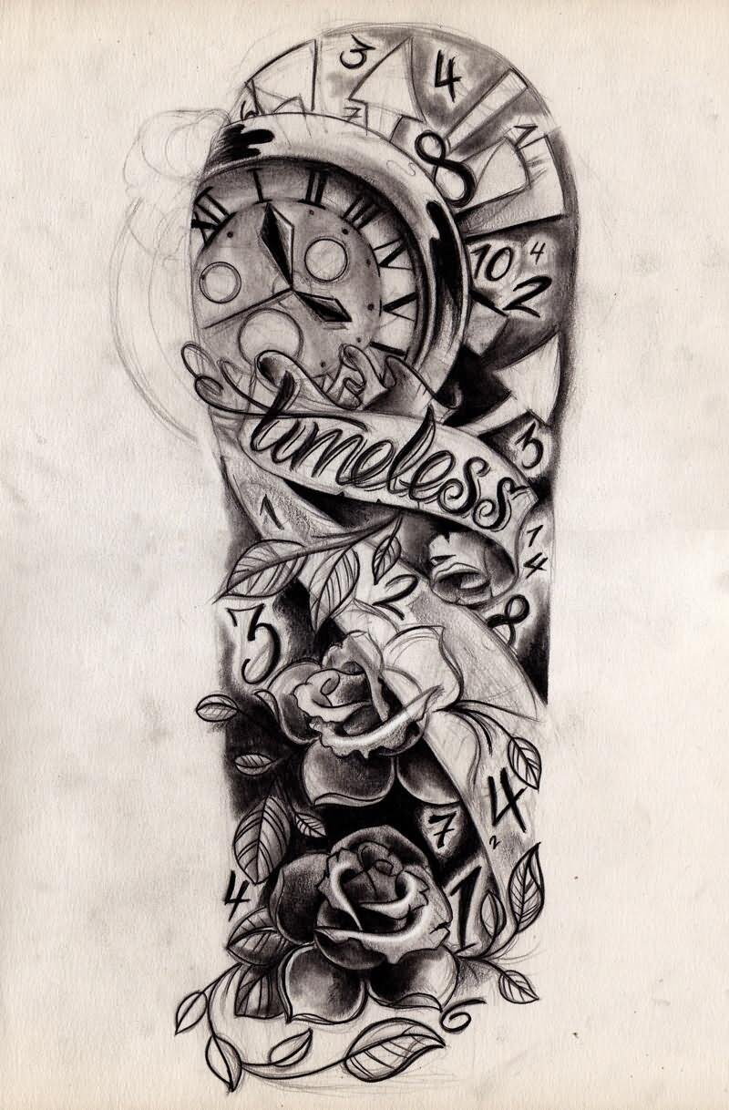 Clock forearm black rose sleeve tattoo - Traditional Rose Flowers And Clock Tattoo Design For Half Sleeve