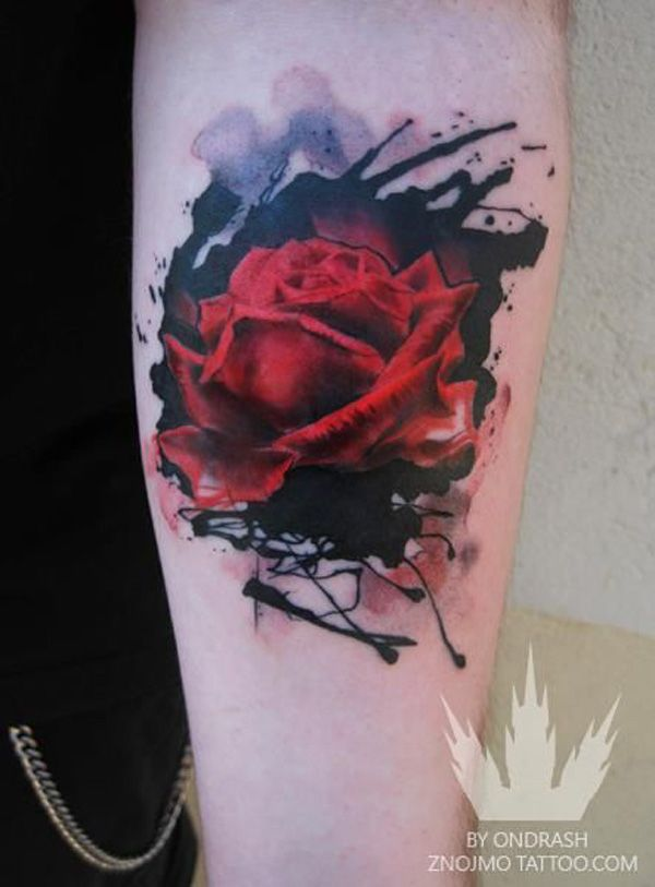 8ddc8fc22 Watercolor 3D Rose Tattoo Design For Sleeve By Ondrash Znojmo