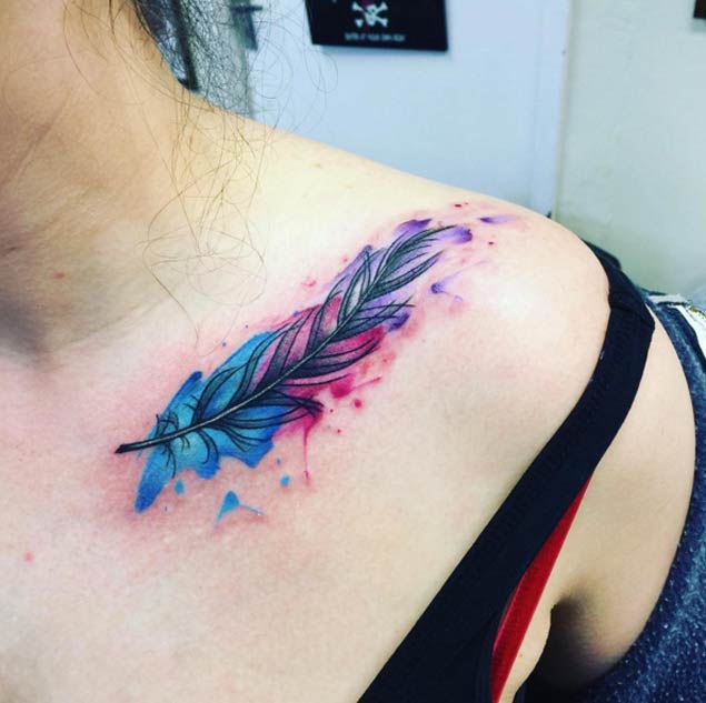 677540d693b6e Watercolor Feather Tattoo On Girl Left Front Shoulder