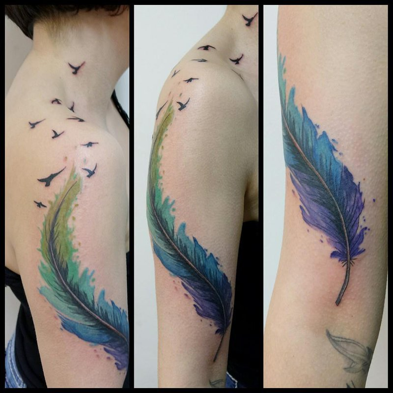 33 watercolor feather tattoos watercolor feather with flying birds tattoo on girl right half sleeve by mel van hel urmus Images