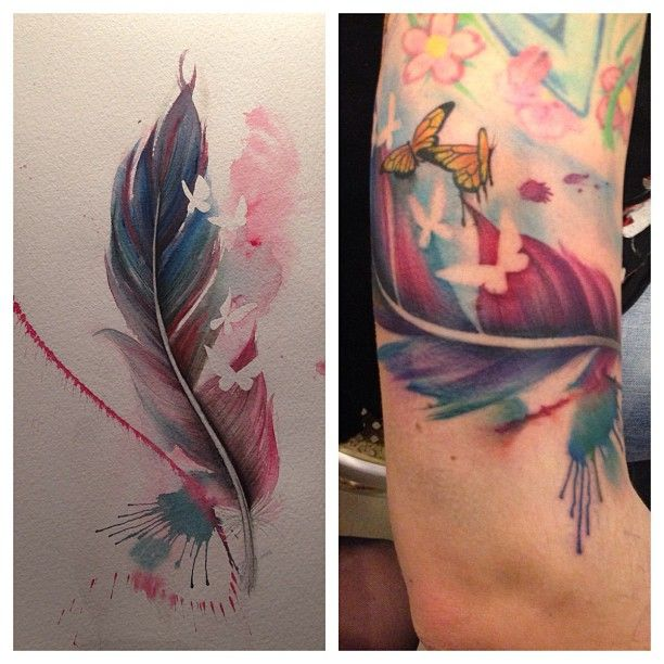7d6ed41cfa2bd Watercolor Feather With Flying Butterflies Tattoo Design For Half Sleeve