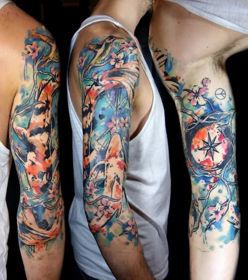 Bird Half Sleeves Watercolor Tattoo With Flowers: 53+ Colorful Watercolor Tattoos