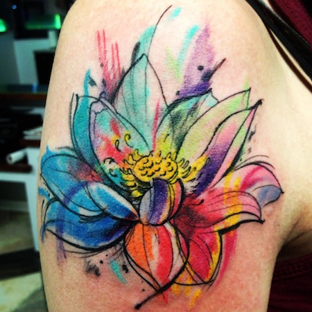 Watercolor lotus flower tattoo design for shoulder for Lotus flower tattoo on shoulder