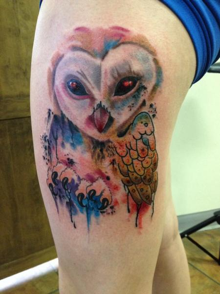 Owl Sugar Skull Tattoo Chest 40+ Nice Watercolor Ow...