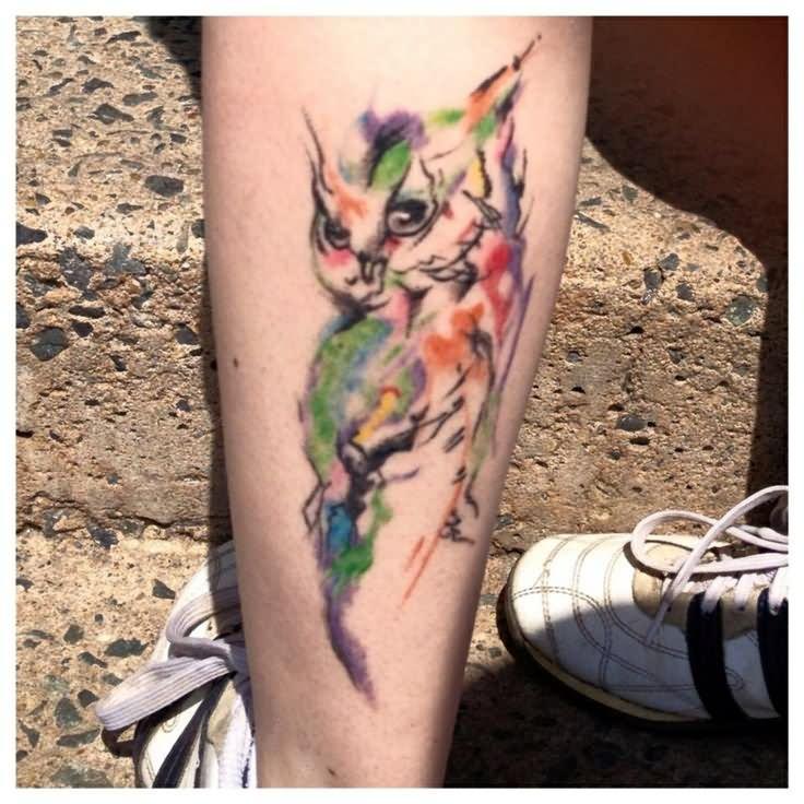 40+ Nice Watercolor Owl Tattoos