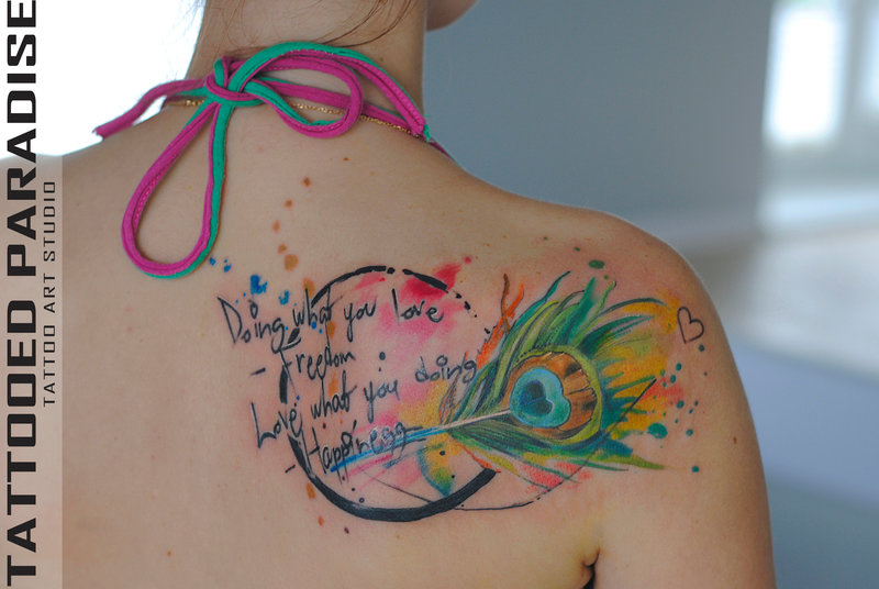 179d532ba Watercolor Peacock Feather Tattoo On Right Back Shoulder By Aleksandra  Katsan