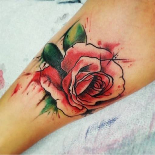 Watercolor Rose Tattoo Design For Sleeve