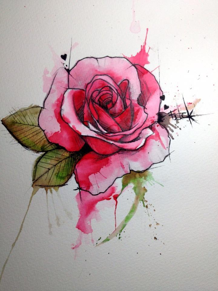 46 beautiful watercolor rose tattoos for Rose flower tattoo designs