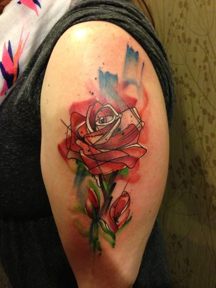 46+ Beautiful Watercolor Rose Tattoos