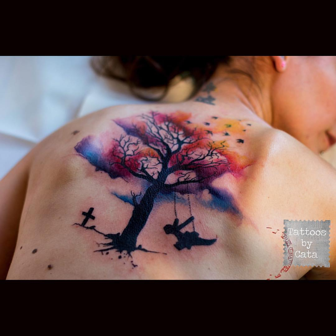 19 watercolor tree tattoos for What is a watercolor tattoo