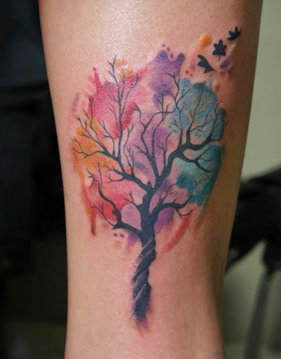 19 watercolor tree tattoos for Tree of life watercolor tattoo