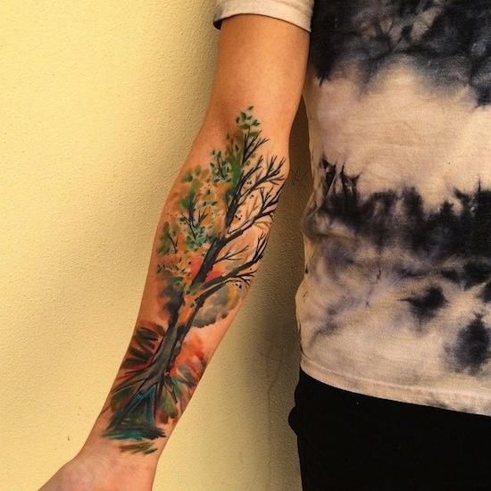 Dotwork Nature Tree With Mountain Tattoo On Both Forearm