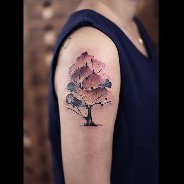 Watercolor Tree Tattoo On Right Shoulder