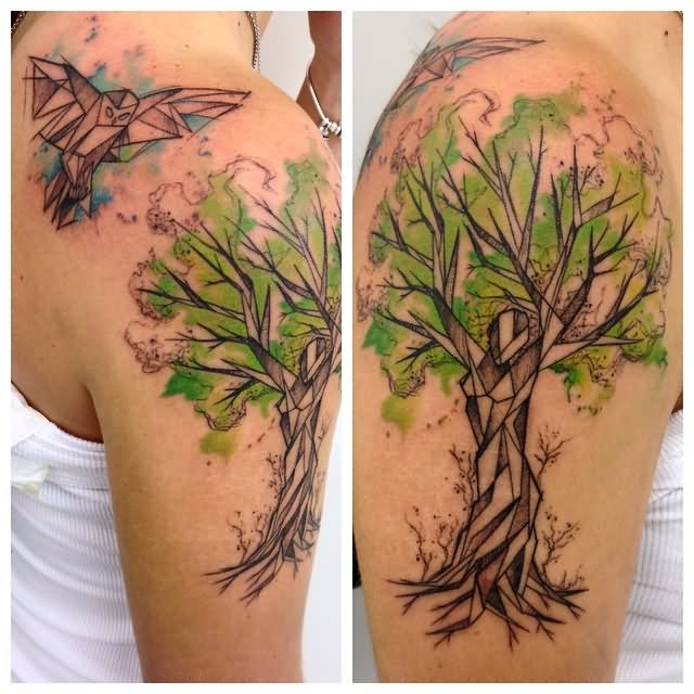 Watercolor willow tree tattoo
