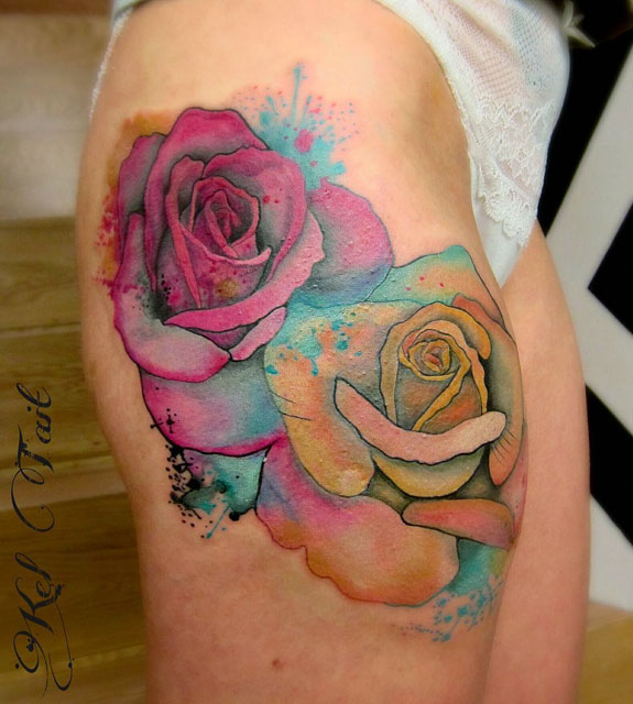 Black Ink Rose Tattoo On Girl Right Hip: 46+ Beautiful Watercolor Rose Tattoos