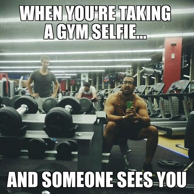 When You Are Taking A Gym Selfie And Someone Sees You Funny Muscle Meme Picture awkward gym memes that will give you secondhand embarrassment