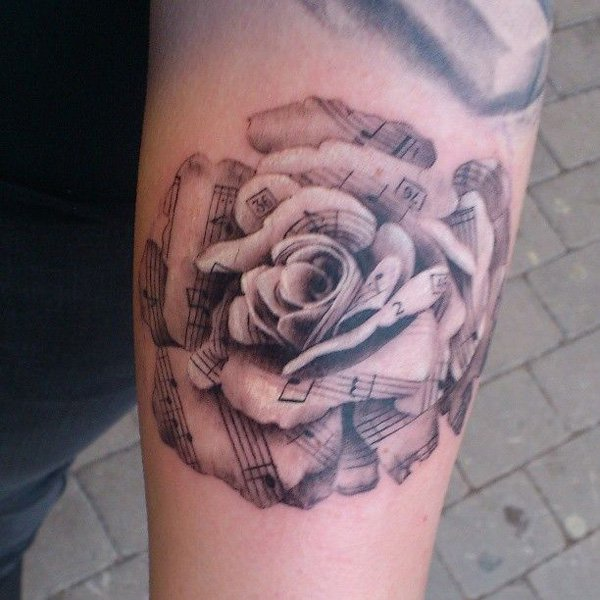 5429f9109 3D Music Knot Rose Tattoo Design For Forearm