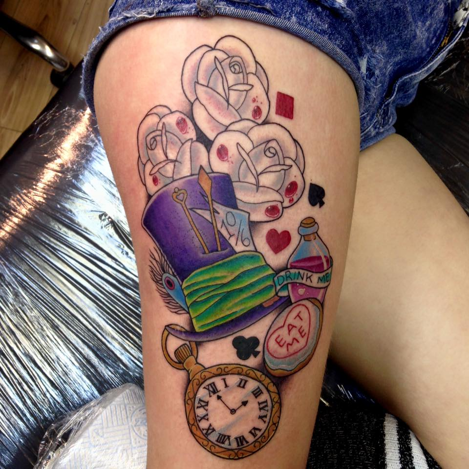 1779ee963 Alice in Wonderland Tattoo On Thigh by Holly