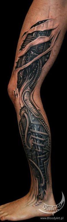 27 3d leg tattoos