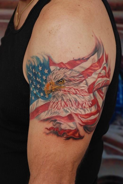 31 Awesome Flag And Eagle Tattoos