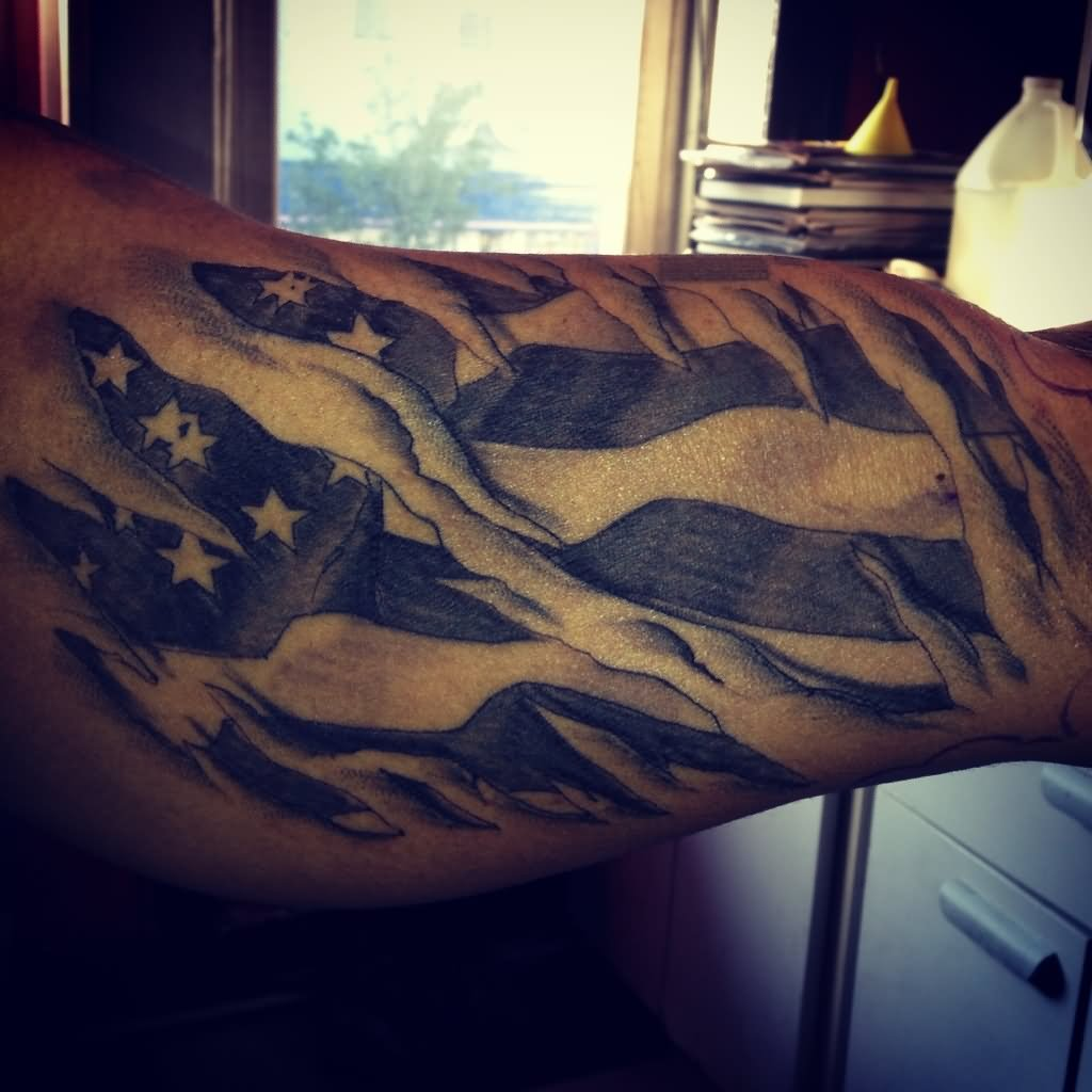 Name canadian flag ripping through skin tattoo designjpg pictures - Black And Grey Ripped Skin Usa Flag Tattoo Design For Sleeve