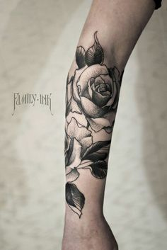 43 beautiful forearm rose tattoos for Black and gray rose tattoos