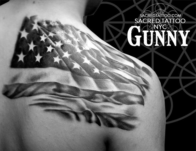 40 famous black and grey flag tattoos rh askideas com black american flag shoulder tattoo black american flag tattoo designs
