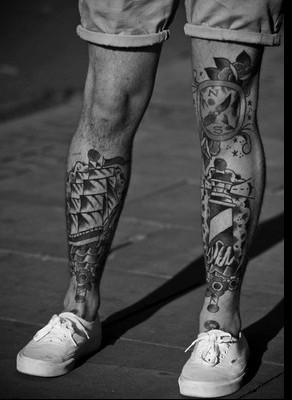 18 Black And White Leg Sleeve Tattoos