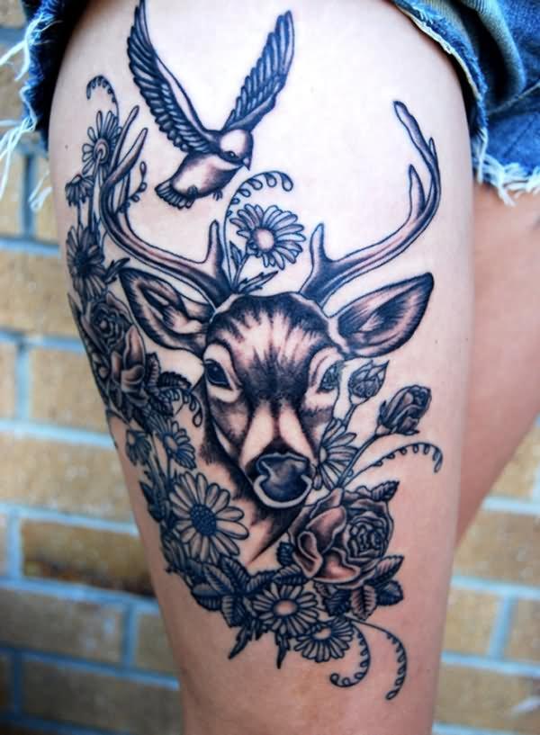 black ink deer with flowers tattoo design for upper leg. Black Bedroom Furniture Sets. Home Design Ideas