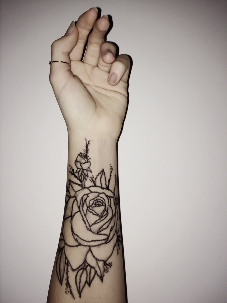 43 beautiful forearm rose tattoos for Rose outline tattoo