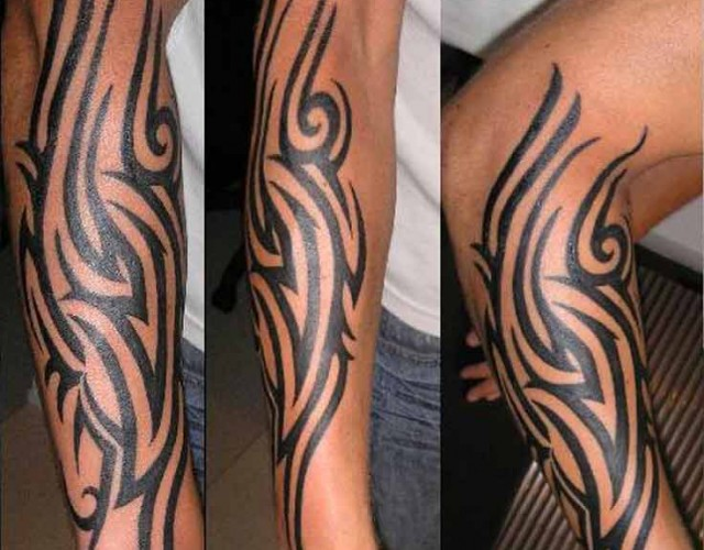 21 tribal forearm tattoos for Tribal tattoos for men forearm