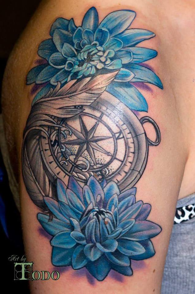 Blue Dahlia And Compass Tattoo On Shoulder By Todo
