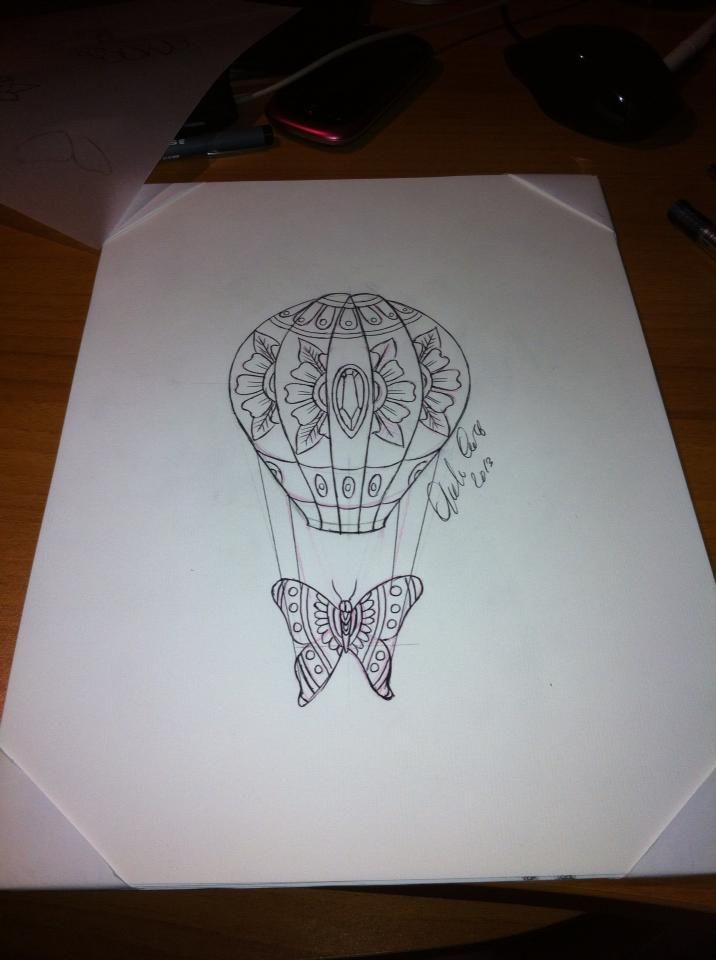 hot air balloon outline tattoo the image kid has it. Black Bedroom Furniture Sets. Home Design Ideas