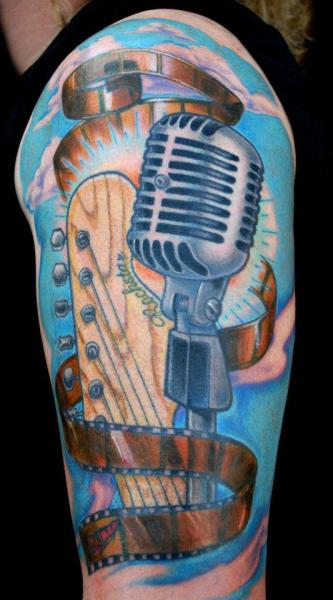 22 Microphone And Music Notes Tattoo