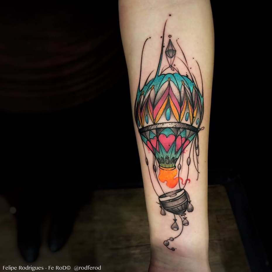 10+ Nice Hot Balloon Tattoo Designs
