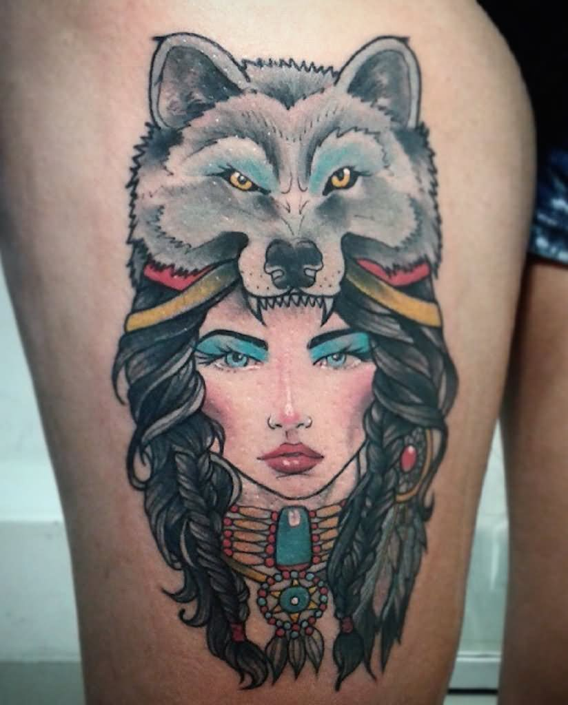 Wolf Woman Tattoo By Otheser Tattoo: Wolf Girl Tattoo On Side Thigh
