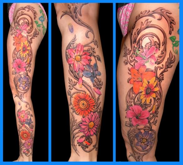 46 awesome leg tattoos for Floral leg tattoo designs