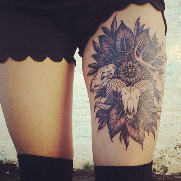 50 beautiful thigh tattoos for girls. Black Bedroom Furniture Sets. Home Design Ideas